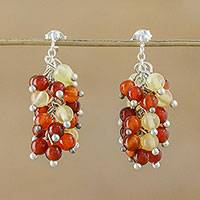 Carnelian and citrine cluster earrings, 'Dazzling Honey' - Carnelian and Citrine Cluster Earrings
