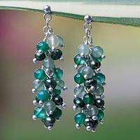 Pearl and aventurine cluster earrings, 'Dazzling Peppermint' - Pearl and aventurine cluster earrings