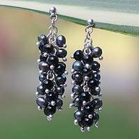 Pearl and onyx cluster earrings, 'Dazzling Licorice' - Hand Made Onyx and Pearl Cluster Earrings