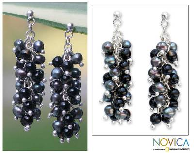Pearl and onyx cluster earrings, Dazzling Licorice
