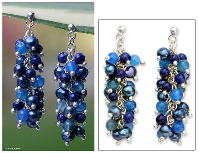 Pearl and lapis cluster earrings, 'Dazzling Mint' - Lapis Lazuli and Pearl Dangle Earrings