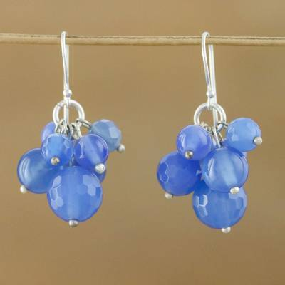 Sterling silver cluster earrings, 'Blueberry Friends' - Sterling silver cluster earrings