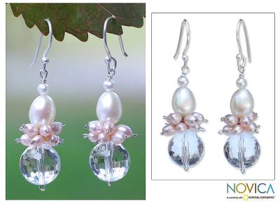 Pearl and quartz cluster earrings, 'Ballerina' - Pearl and Quartz Dangle Earrings