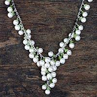 Pearl and peridot pendant necklace, 'Green Iridescence' - Pearl and peridot pendant necklace