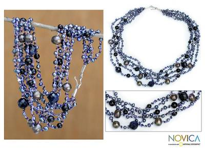 Pearl and onyx strand necklace, 'Rivers of Color' - Beaded Pearl and Onyx Necklace