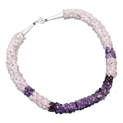 Rose quartz and amethyst beaded necklace