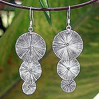 Sterling silver dangle earrings, 'Swing of Energy' - Artisan Crafted Hill Tribe Sterling Silver Dangle Earrings