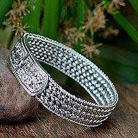 Sterling silver wristband bracelet, 'Woven Hideaway'