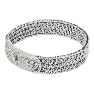 Handcrafted Floral Sterling Silver Wristband Bracelet
