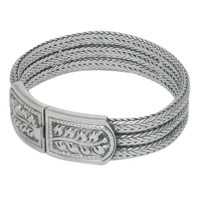 Handcrafted Floral Sterling Silver Bracelet
