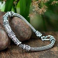 Men's sterling silver bracelet, 'Royal Scrolls'