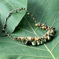 Pearl and citrine cluster necklace, 'Leaf Doctrine' - Pearl and citrine cluster necklace