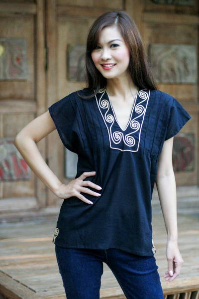 Cotton blouse, Ebony Melody