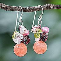 Pearl and rose quartz cluster earrings, 'Strawberry Fantasy' - Rose Quartz and Pearl Dangle Earrings