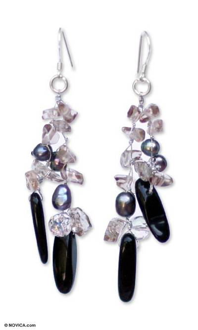 Hand Crafted Onyx and Quartz Waterfall Earrings