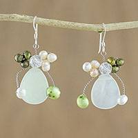 Pearl and prehnite cluster earrings, 'Elixir' - Prehnite and Pearl Dangle Earrings