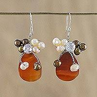 Pearl and agate cluster earrings, 'Elixir' - Handcrafted Beaded Agate and Pearl Earrings