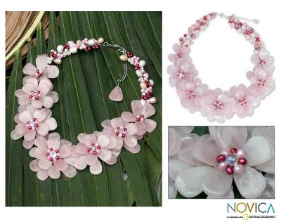 Pearl and rose quartz choker, 'Rose Aurora' - Handmade Quartz and Pearl Flower Necklace