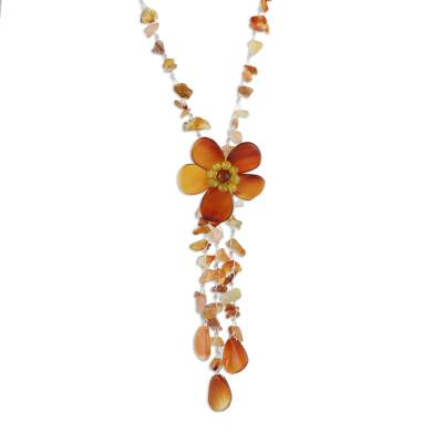 Hand Made Floral Agate Necklace