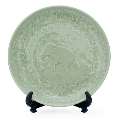Celadon Ceramic Plate with Stand