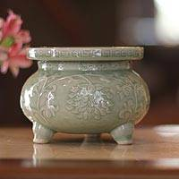 Celadon ceramic incense burner, 'Thai Forest' - Celadon Ceramic Incense Burner