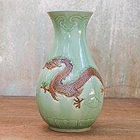 Celadon ceramic vase, 'Dragon Mystery' - Unique Celadon Ceramic Vase