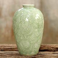 Celadon ceramic vase, 'Wildflower' - Fair Trade Green Celadon Ceramic Vase