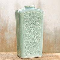 Celadon ceramic vase, 'Blue Sky Lotus' - Hand Crafted Thai Floral Ceramic Vase