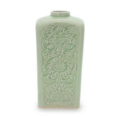 Hand Crafted Thai Floral Ceramic Vase