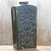 Celadon ceramic vase Forest Lotus Thailand