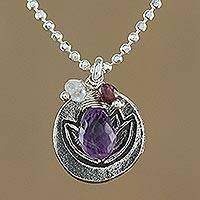 Amethyst and garnet flower necklace, 'Timeless Water Lily' - Handmade Floral Sterling Silver and Moonstone Necklace