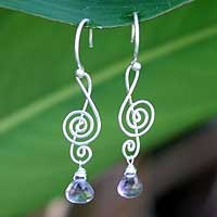 Amethyst dangle earrings, 'Thai Melody' - Amethyst and Sterling Silver Dangle Earrings
