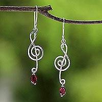 Garnet dangle earrings, 'Thai Melody' - Garnet dangle earrings
