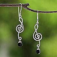 Onyx dangle earrings, 'Thai Melody' - Onyx and Silver Music Note Earrings