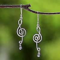 Labradorite dangle earrings, 'Thai Melody' - Labradorite and Sterling Silver Music Earrings