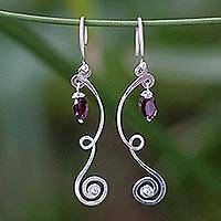 Garnet dangle earrings, 'Thai Ribbons' - Garnet dangle earrings