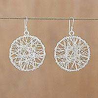 Sterling silver dangle earrings, 'Gossamer Web' (Thailand)