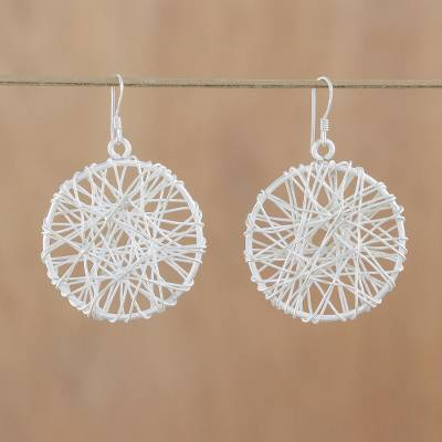 Sterling silver dangle earrings, 'Gossamer Web' - Sterling silver dangle earrings