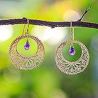 Gold vermeil amethyst dangle earrings, 'Sunny Treasure'