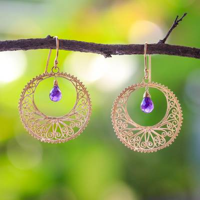 Gold vermeil amethyst dangle earrings, 'Sunny Treasure' - Gold Vermeil Amethyst Dangle Earrings