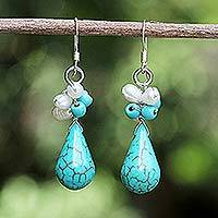 Pearl cluster earrings, 'Tropic Blue' - Blue Green Turquoise and Pearl Earrings