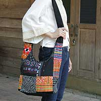 Cotton sling tote bag, 'Hmong Colors' - Cotton sling tote bag