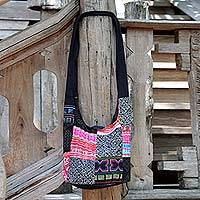 Cotton sling tote bag, 'Hmong Tradition' - Handcrafted Hill Tribe Patchwork Sling Bag