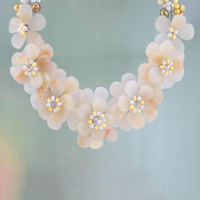 Cultured pearl choker, 'Golden Gardenia' - Dramatic Floral Cultured Pearl Choker Statement Necklace