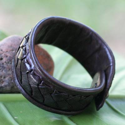 Leather wristband bracelet, 'Mighty Chic' - Hand Crafted Leather Wristband Bracelet
