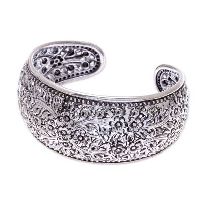 Handmade Floral Sterling Silver Cuff Bracelet from Thailand