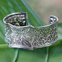 Sterling silver cuff bracelet, 'Floral Village' - Delicate Silver Floral Cuff Hand Made in Thailand