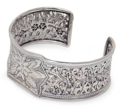 Hand Made Floral Sterling Silver Cuff Bracelet