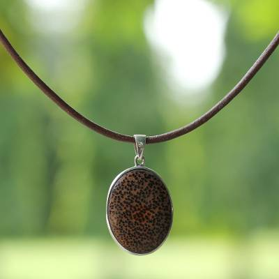 Coconut shell pendant necklace, 'Eternal Brown' - Coconut shell pendant necklace