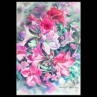 'Pink Amaryllis' - Thai Fine Art Watercolor Painting